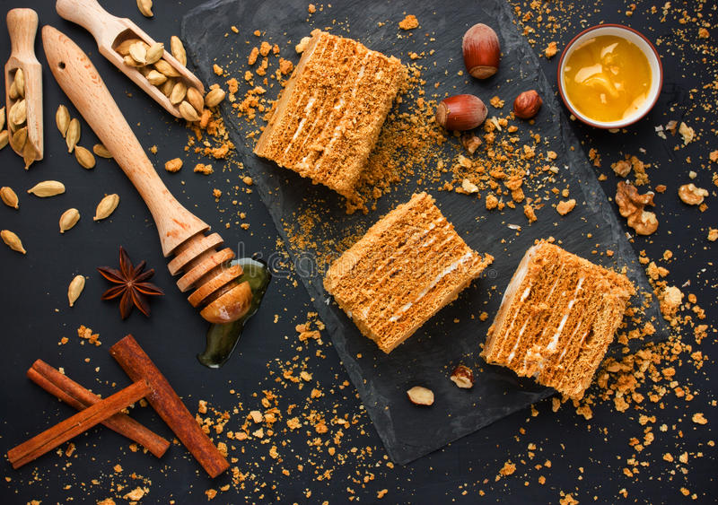 Honey cake with nuts, cinnamon, anise, cardamom stock photos