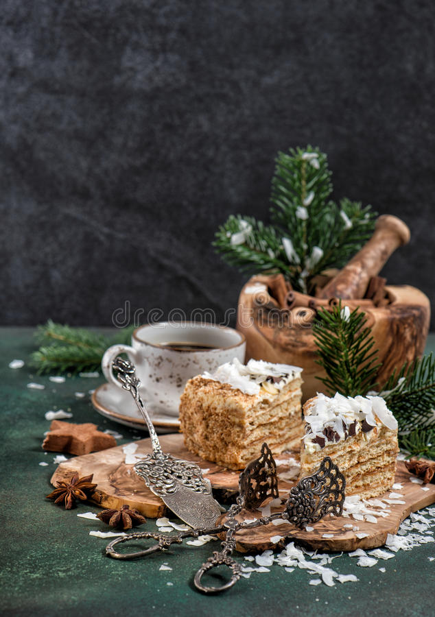 Honey cake with spices Christmas decoration Festive sweet food royalty free stock images