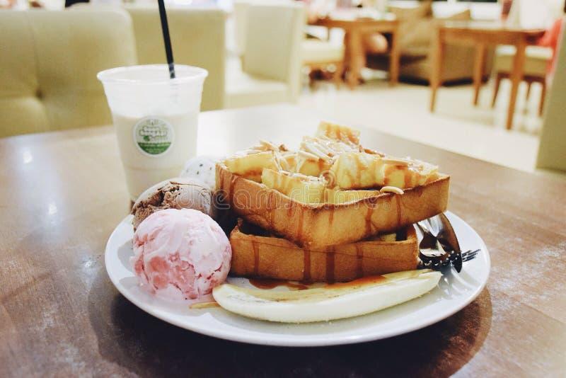 Ice cream honey toast royalty free stock images