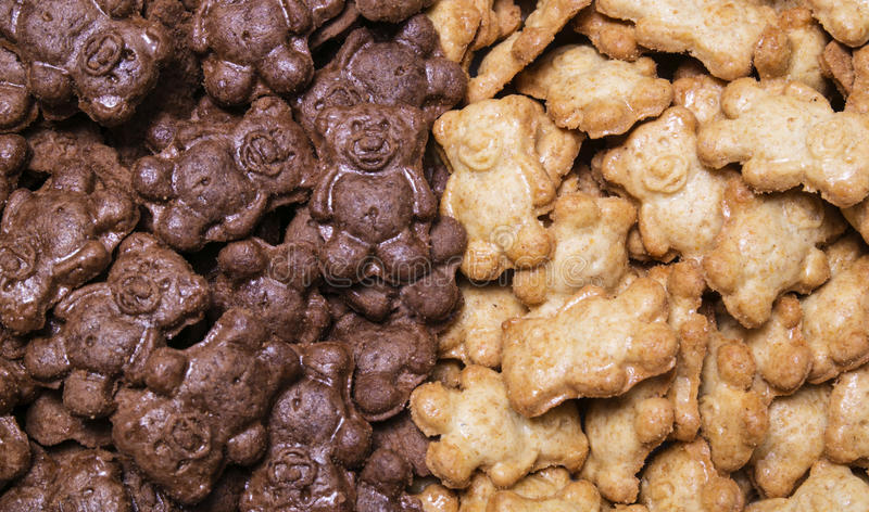Honey and chocolate cookies bears backdrop, background royalty free stock photos