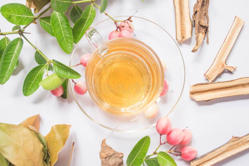 Thai honey and herbs stock photo