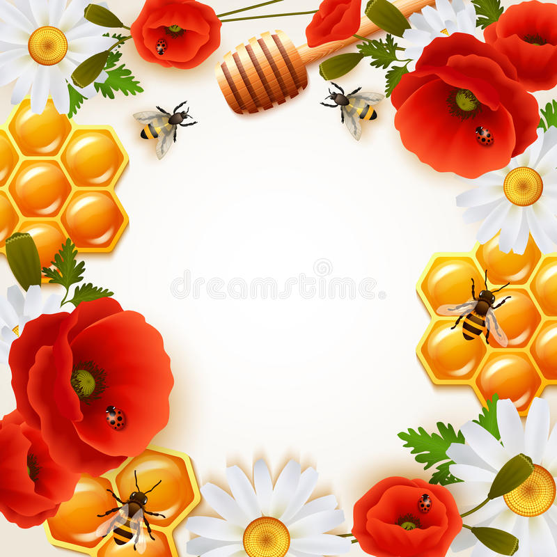 Honey Colored Background. With colorful flowers attributes for honey and bees around white fond vector illustration royalty free illustration