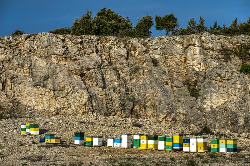 Abandoned quarry with colorful boxes. Honey colorful beehives in a row in nature on the island Brac in Croatia stock image