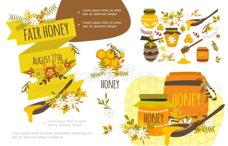 Honey Colorful Concept orgánico plano ilustración del vector