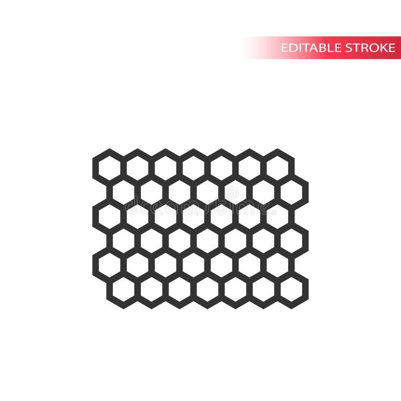 Honey comb editable stroke line pattern. vector illustration