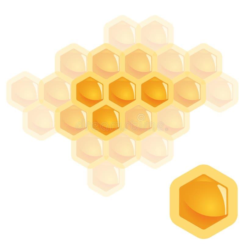 Honey comb element. High detailed natural orange honey comb element symbolize togetherness stock illustration