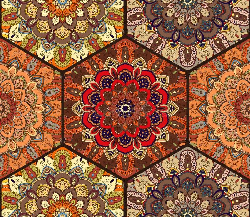 Honey Comb Hex Pattern de fleur Mandala Brown illustration de vecteur