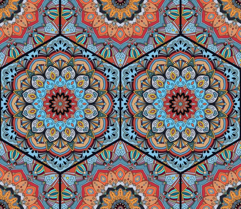 Honey Comb Hex Pattern Flower Mandala Blue Orange vektor abbildung