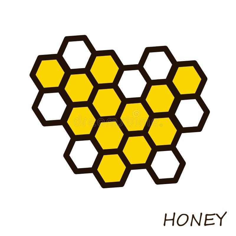 Honey Comb Icône pour l'apiculture Illustration sur le thème d'un rucher et d'une abeille illustration de vecteur