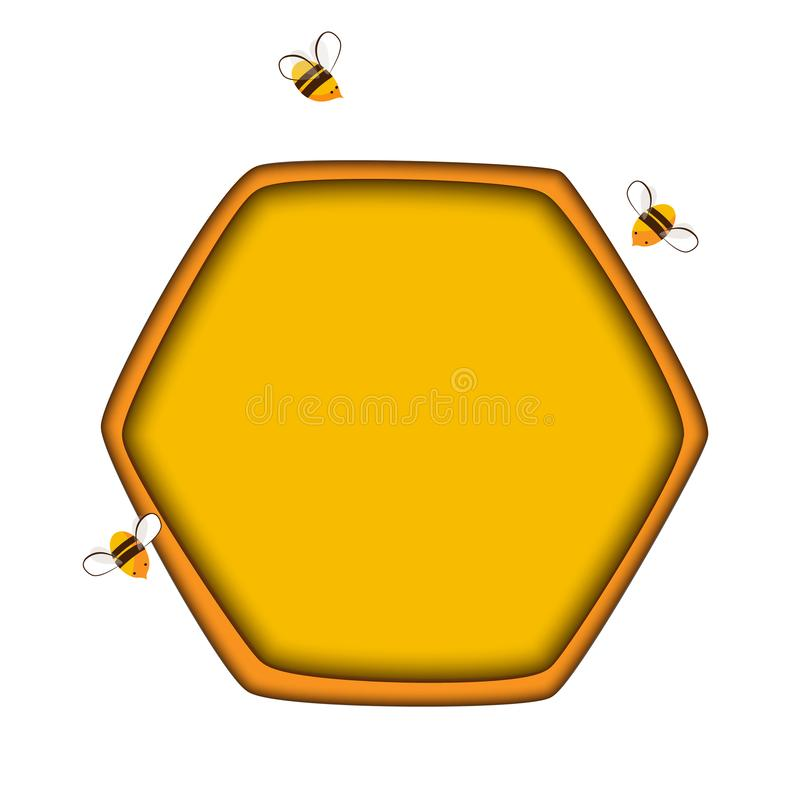 Honey comb icon with bees. Carving style. Vector illustration royalty free illustration