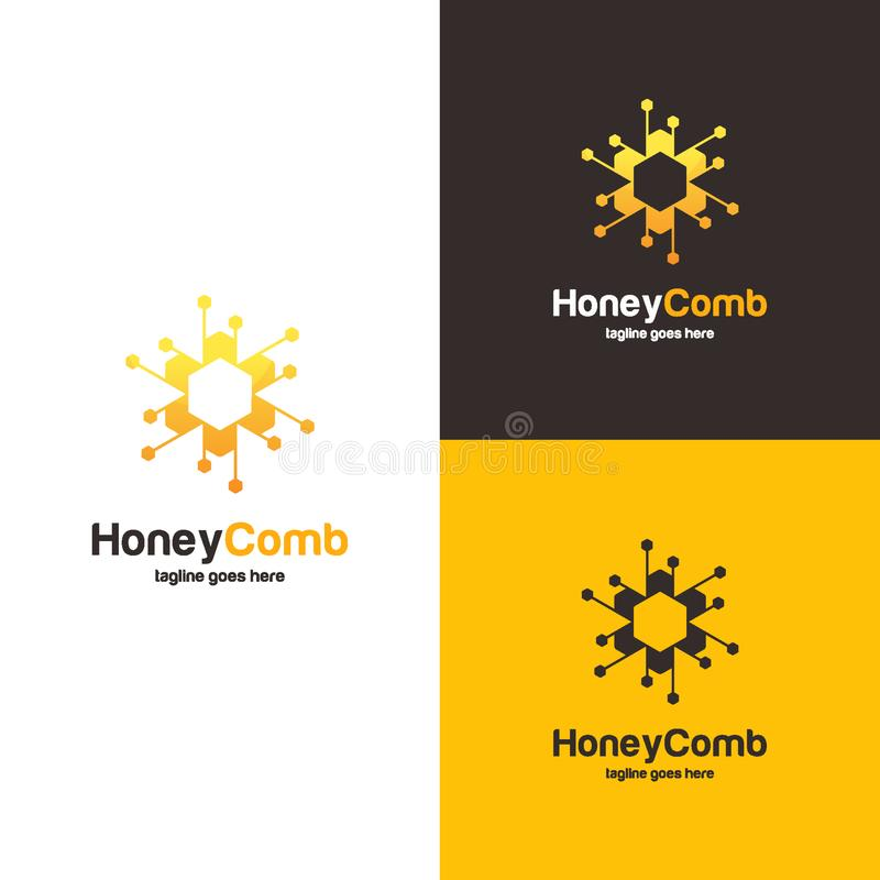 Free Honey Comb Logo Design Concept, Bee Or Technology Logo Template Stock Image - 125702111