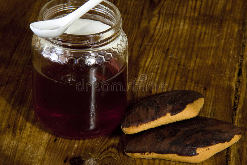 Honey and cookies for breakfast. View of honey and biscuits prepared for a breakfast sprint royalty free stock photography