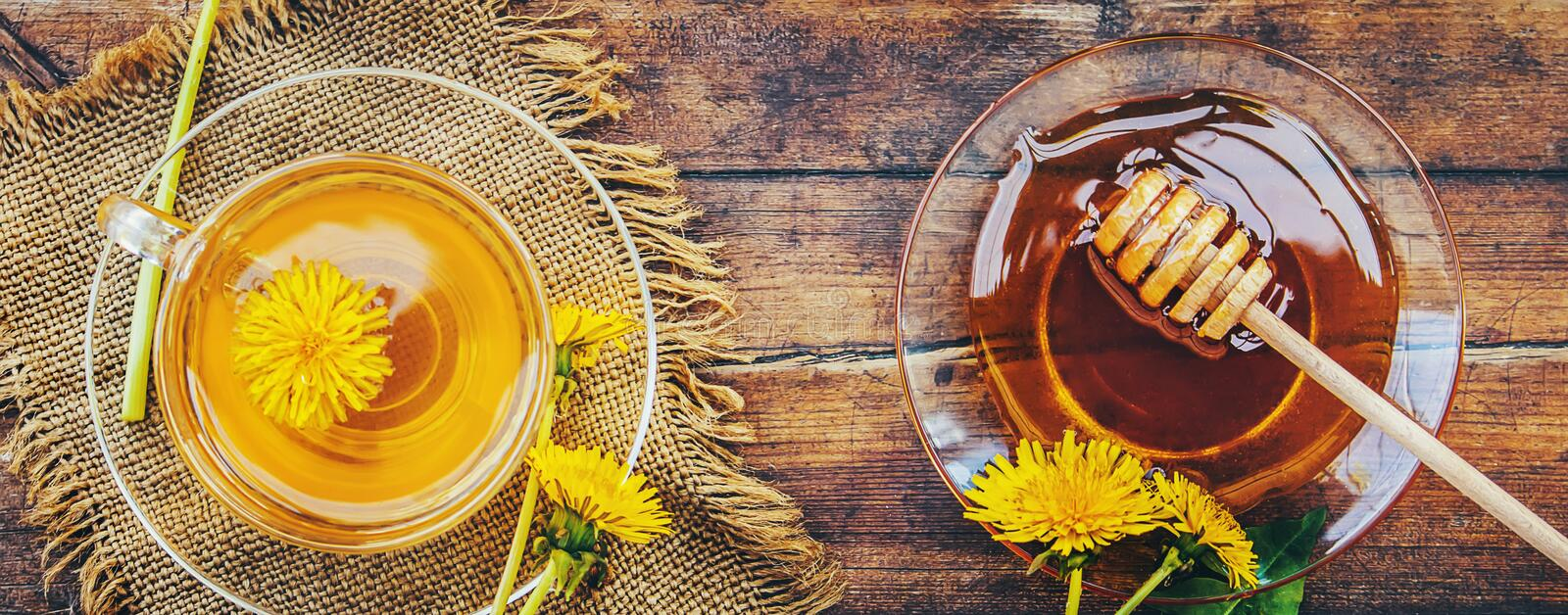 Honey from dandelion and a Cup of tea. royalty free stock images