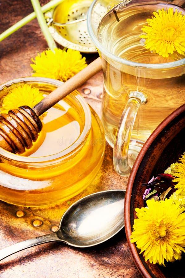 Honey from dandelion flowers stock images