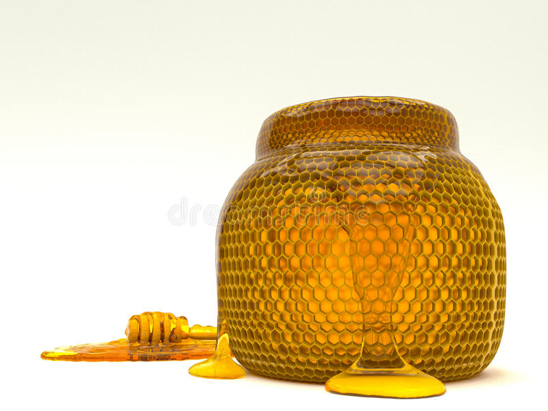 Honey dipper and bee honeycomb jar. royalty free stock photography