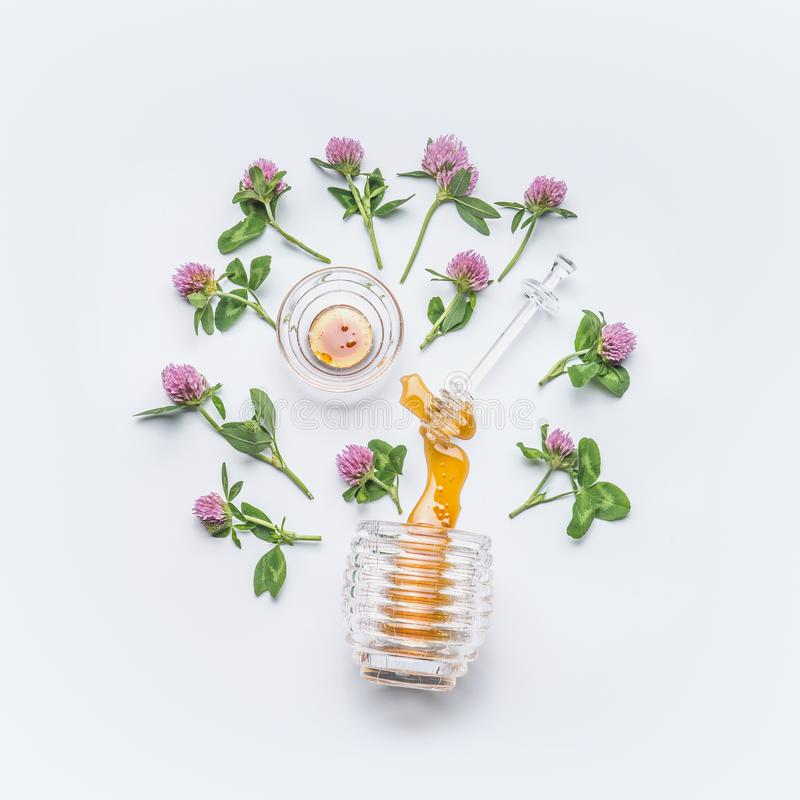 Honey dipper with honey stains from jar with wild clover flowers on white background stock images
