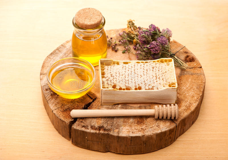 Honey and dried herbs. Honey, honey comb and dried herbs stock photo