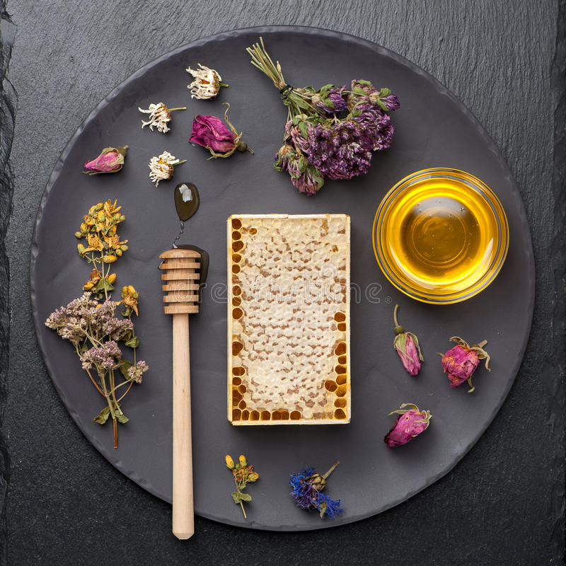 Honey and dried herbs. On dark background stock images