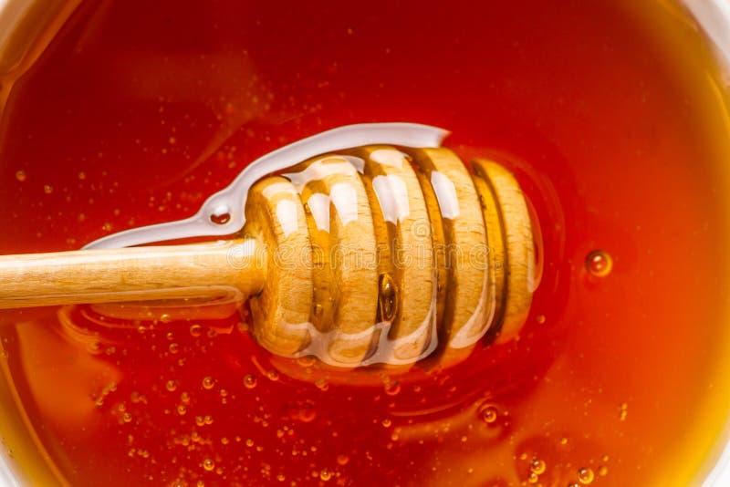 Honey dripper in honey fresh organic honey, macro, top view. Honey dripper in honey fresh organic honey, macro shot, top view stock image