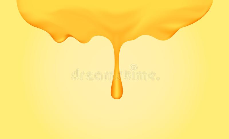 Honey dripping with honey dipper isolated on yellow gold background, honey liquid drop golden of honeycomb for graphic, honey drip royalty free illustration