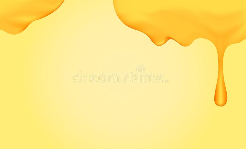 Honey dripping with honey dipper isolated on yellow gold background, honey liquid drop golden of honeycomb for graphic, honey drip vector illustration