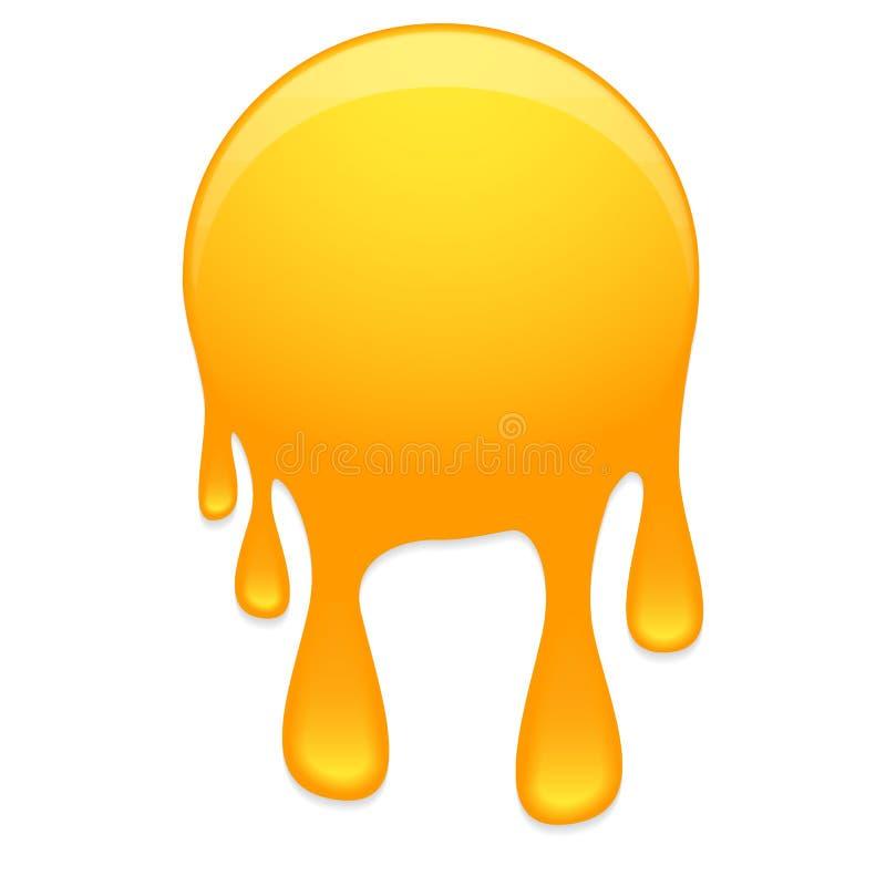 Honey droplets. Big honey stamp with droplets royalty free illustration