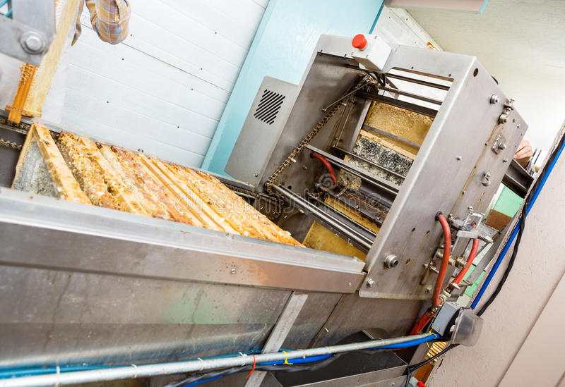 Honey Extraction Plant In Factory. Metallic honey extraction plant in beekeeping factory royalty free stock images
