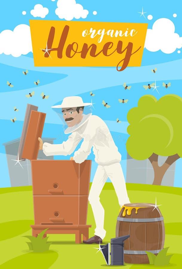 Honey Farm Apicoltore ed alveare all'arnia illustrazione vettoriale