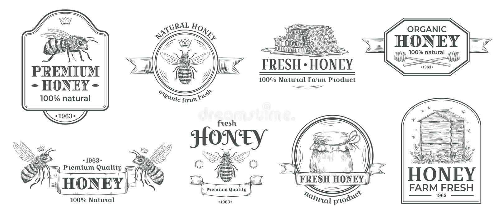 Honey farm badge. Beekeeping logo, retro bee badges and vintage hand drawn mead label vector illustration set royalty free illustration
