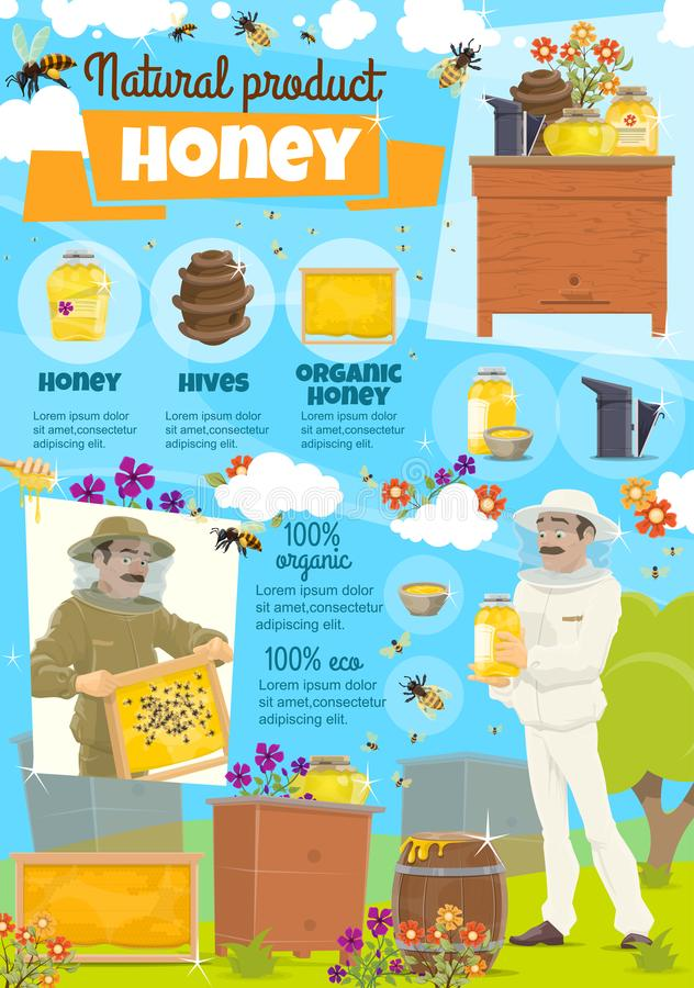 Honey farm and beekeeper in protective clothing stock illustration