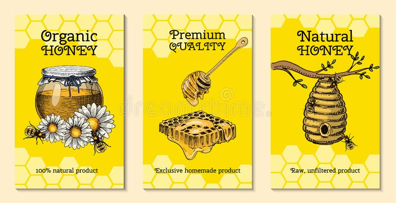 Honey waxing bee and beehive flyer. Poster organic honey and apiary, beehive and chamomile dessert nutrition vector royalty free illustration