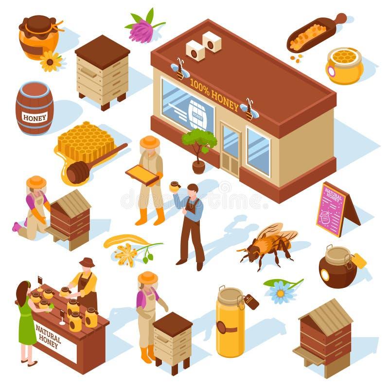 Honey Farm Isometric Icons Set royalty illustrazione gratis