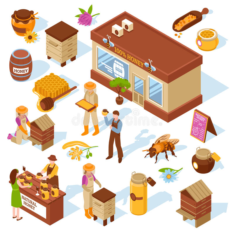 Honey Farm Isometric Icons Set royalty free illustration