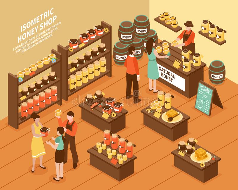 Honey Farm Shop Isometric Poster royaltyfri illustrationer