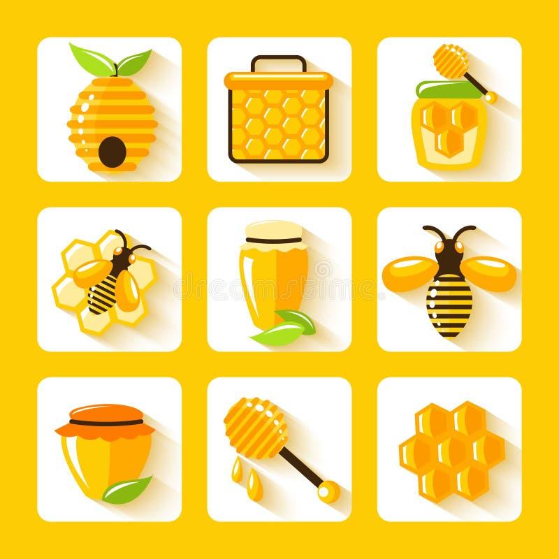 Honey Flat Icons Set royalty illustrazione gratis