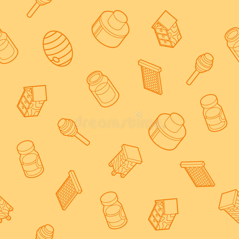 Honey flat outline isometric pattern royalty free illustration