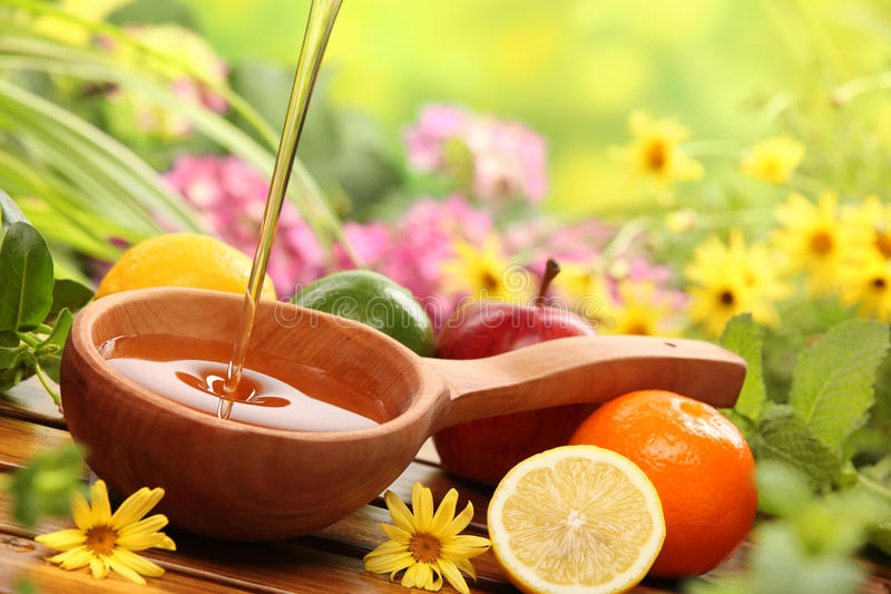 Honey and fresh fruits royalty free stock image
