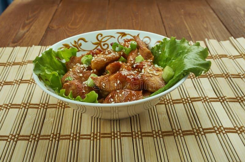 Honey Garlic Baked Pork Bites imagem de stock royalty free