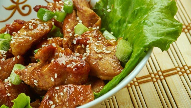 Honey Garlic Baked Pork Bites fotos de stock