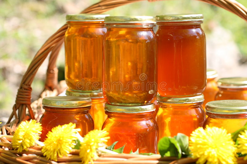 Honey in glass royalty free stock image