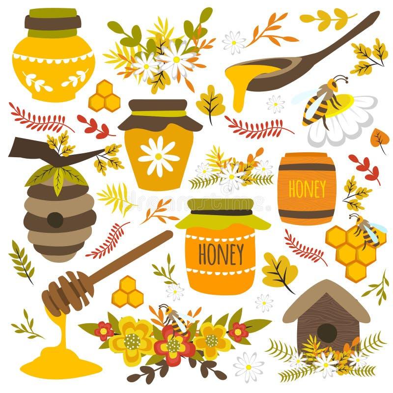 Honey Hand Drawn Elements stock illustrationer