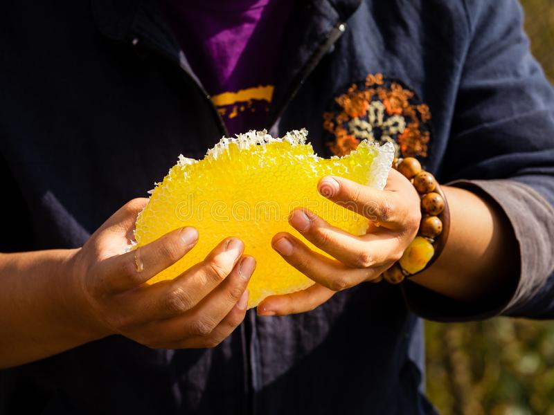 Honey harvesting in rural Sichuan China stock photos