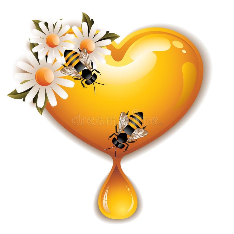 Honey Heart Icon. Vector illustration of a cute honey heart with flowers and working bees, isolated on white vector illustration
