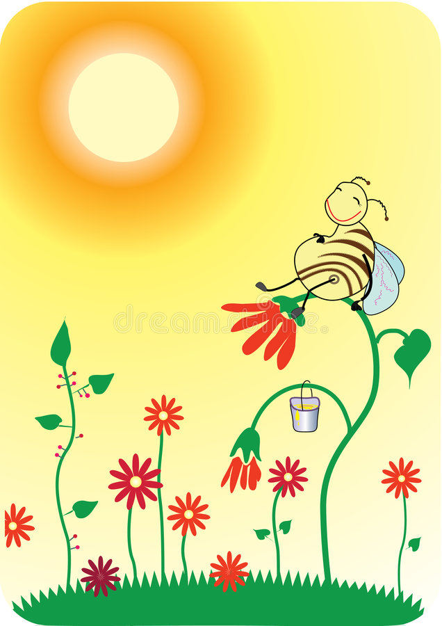Honey history. Fun bee is sitting on a flower stock illustration