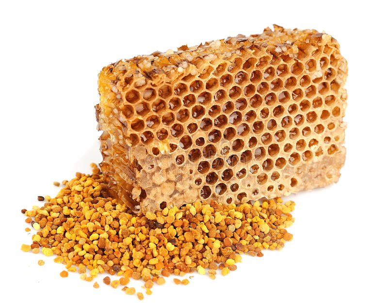 Honey honeycombs and pollen stock images