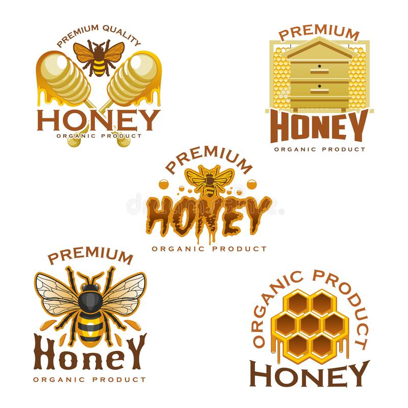 Honey icon with bee, honeycomb, beehive and dipper. Honey icon with natural sweet food of beekeeping farm. Honey bee, honeycomb, wooden beehive and dipper symbol stock illustration