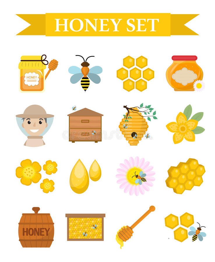 Honey icon set, flat, cartoon style. Beekeeping collection of objects isolated on white background. Apiculture kit royalty free illustration