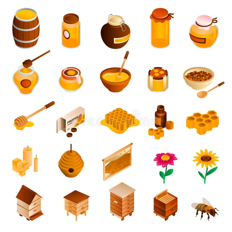 Honey icon set, isometric style vector illustration