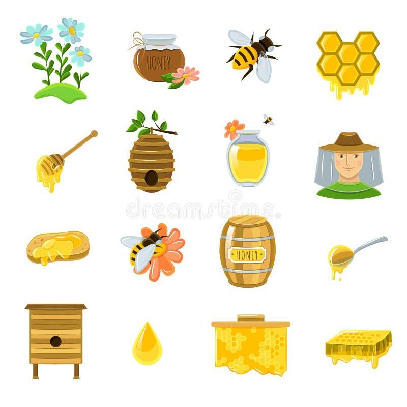 Honey Icons Set stock illustration