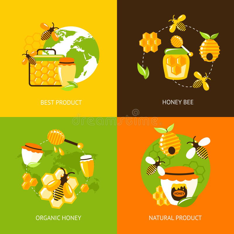 Honey icons set. Best product organic natural honey bee icons set isolated vector illustration vector illustration